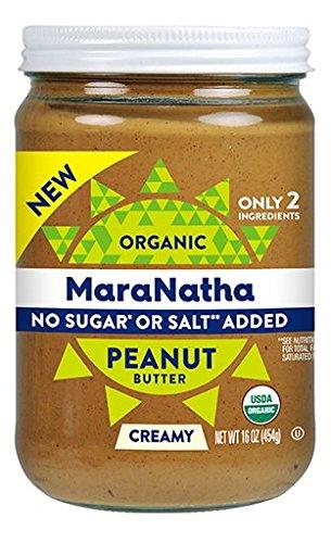 Maranatha Roasted Almond Butter - Maranatha Organic No Sugar No Salt Creamy Peanut Butter 16 oz Glass Jar - Single Pack