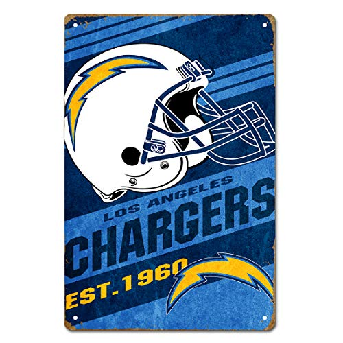 - MamaTina Cool Vintage San Diego Chargers American Football Team Design Metal Tin Signs for Home Wall Decor Size 12x8 Inches