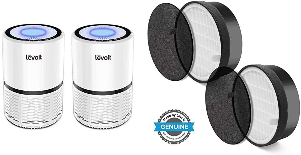LEVOIT Air Purifier for Home Smokers Allergies and Pets Hair, True HEPA Filter & LV-H132 Air Purifier Replacement Filter, True HEPA Filter, Activated Carbon Filter, LV-H132-RF, 2 Pack,Black