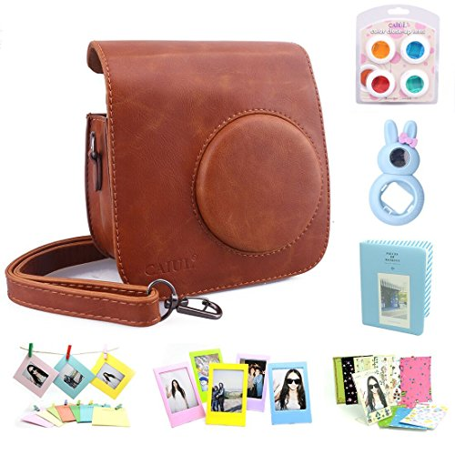 CAIUL Compatible Mini 7s Case Bundle with Album, Filters & Accessories for Fujifilm Instax Mini 7s and Polaroid PIC-300 Camera (Brown, 7 Items)
