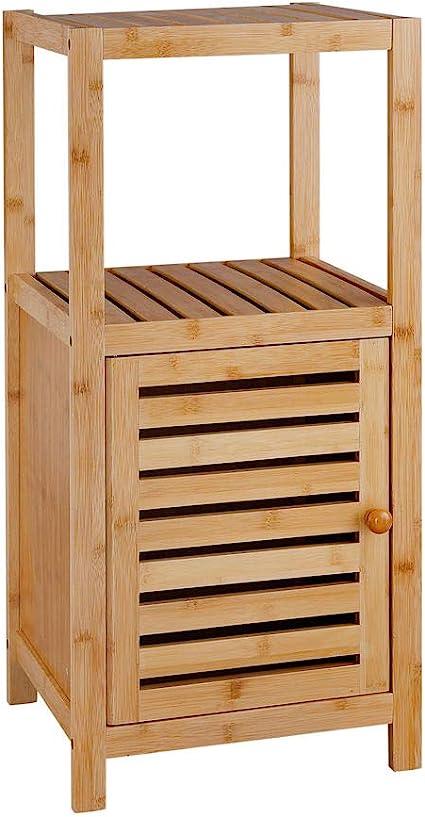 Badkamerrek Van Bamboe Hout Badkamerkast Met 1 Kast En 2 Etages Voor In De Badkamer Open Kastje Als Badkamerkast Decopatent Amazon Nl