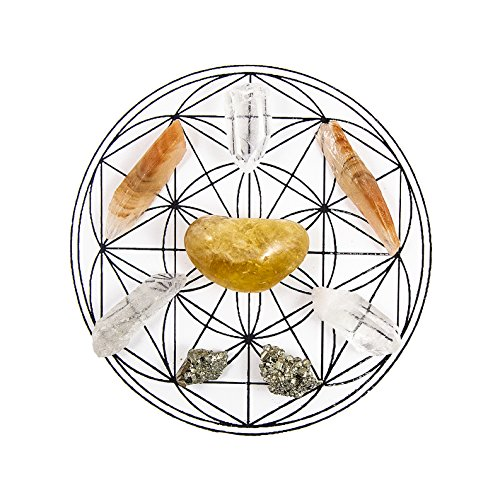 Beverly Oaks ENERGY INFUSED Healing Crystals Grid - CONFIDENCE AND SELF ESTEEM Gemstone Gridding Set - Featuring Citrine, Clear Quartz, Pyrite, and Red Calcite
