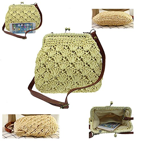 Bag Lady Casual Hasp Donalworld Bag Khaki Mini Shoulder Beach Hollow Out Straw 6YcWpOZdqp