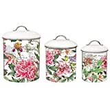 Michel Design Works 3-Piece Metal Kitchen Canister Set, Peony