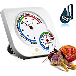 SunGrow Hermit Crab Humidity & Temperature Meter - Analog Gauges for Accurate Readings - Measures in Fahrenheit & Percent - Dual Thermometer & Hygrometer for Terrariums and Reptile, Amphibian & Herm