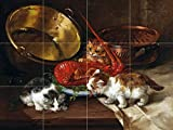 Kittens and lobster by Alfred Arthur Brunel de Neuville Tile Mural Kitchen Bathroom Wall Backsplash Behind Stove Range Sink Splashback 4x3 6'' Rialto