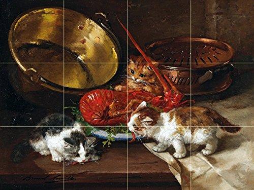 Kittens and lobster by Alfred Arthur Brunel de Neuville Tile Mural Kitchen Bathroom Wall Backsplash Behind Stove Range Sink Splashback 4x3 6'' Rialto by FlekmanArt