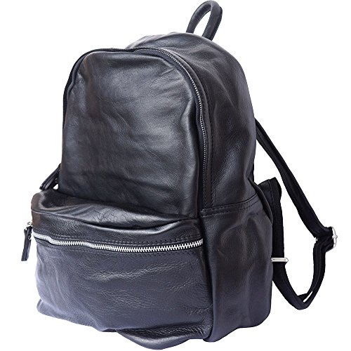 BACKPACK 7028 WITH COW LEATHER GENUINE Black UNISEX AwFadqF