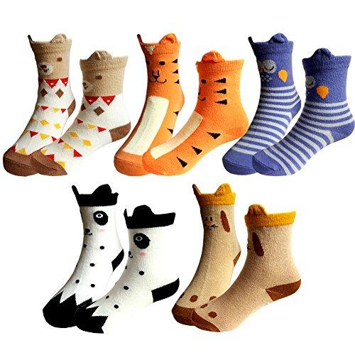 GUOMAN Baby Toddler Cartoon Anti-slip Socks, Kids Non-Skid Cotton Crew Socks (5 Pairs) (3-5 Years)