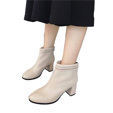 Shirloy Cabeza Redonda Gruesa Alta, Zapatos Cuero para Mujer Botas ...