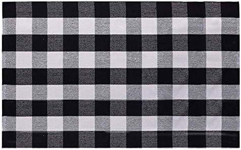 SHAJUJU Alfombra tejida de algodón Alfombras de tela escocesa en blanco y negro Alfombras tejidas a mano de algodón para dormitorio Sala de estar Lavable a máquina Alfombra grande: Amazon.es: Amazon.es