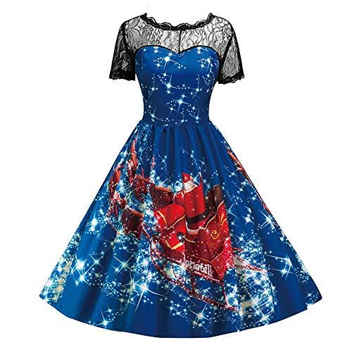 Filfeel 2018 Hollow Lace Collar Printed Pattern Round Neckline Christmas Swing Flared Midi Dress(XL-Blue) -