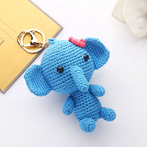 Korea Creative Wool Knit Cute Elephant Car Keychain Key Chain Ms. Bags Packages