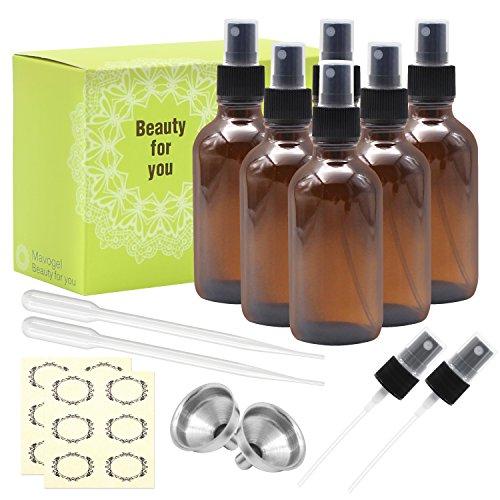 4 Ounce Amber Bottle (Mavogel Pack of 6, 4 oz Amber Glass Bottles with Black Fine Mist Sprayers-Including 2 Extra Black Fine Mist Sprayers, 2 Stainless Steel Mini Funnel, 2 Transfer Pipettes, 6 Bottle Labels)