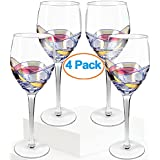 NEW UPDATED PACKAGING Culinaire 21 Ounce Wine Glasses Set Of 4 Exceptional Hand Painted Ideal For Weddings, Anniversary, Engagement Party Excellent Gift For Wine Enthusiasts Red Or White Wine