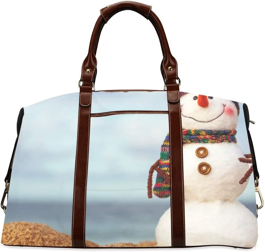 Men Travel Bag The Lovely Snowman On The Beach Classic Oversized Waterproof Pu Leather Carry On Weekend Bag Handbag Zippers