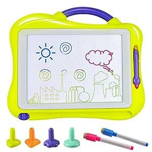 Tablero de Dibujo, Fixget Almohadilla Borrable Infantil Tablero Pizarra Colorido con 2 Lápices de Dibujo Desarrollo Habilidades Regalo de juguetes ...