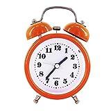 "Alarm Clock for Kids, DONEE 3"" Twin Bell Silent Non Ticking Bedside Desk Analog Quartz Movement Cute Alarm Clock With Nightlight and Loud Alarm. (Orange)"