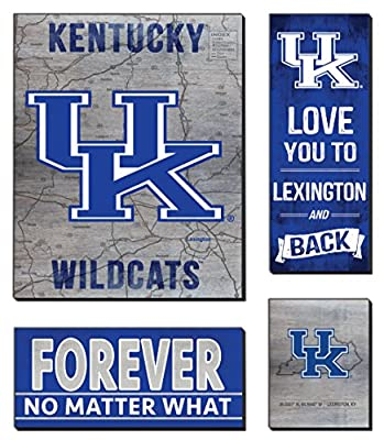 """KH Sports Fan 27""""x23"""" Kentucky Wildcats Road to Victory 4 Pc Canvas Set 4"""
