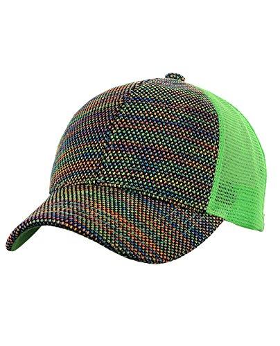 C.C 80's Multicolor Front Panel Mesh Back Adjustable Precurved Baseball Cap Hat, Lime