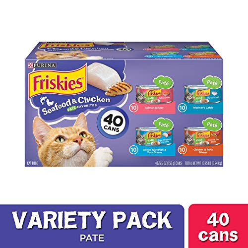 Purina Friskies Pate Wet Cat Food Variety Pack, Seafood & Chicken Pate Favorites – (40) 5.5 oz. Cans