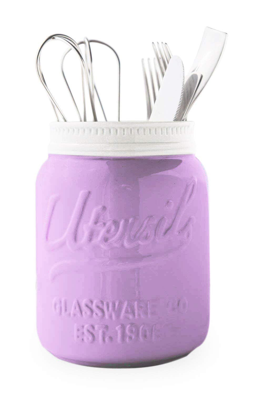 Comfify Wide Mouth Mason Jar Utensil Holder Decorative Kitchenware Organizer Crock, Chip Resistant Ceramic, Dishwasher Safe - Kitchen Caddy Purple, Large Size 7'' High
