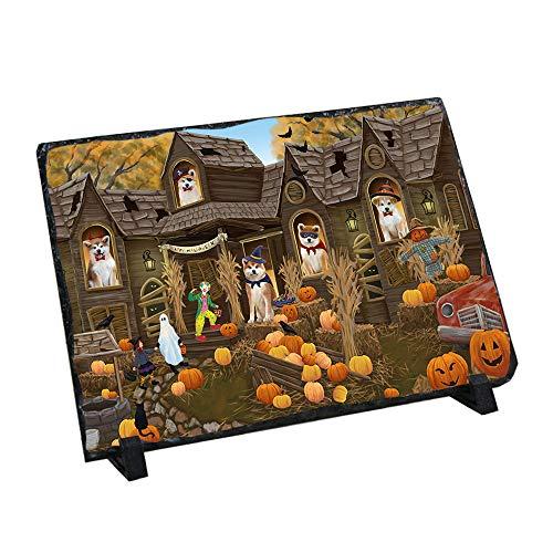 Akita Slate (Doggie of the Day Haunted House Halloween Trick or Treat Akitas Dog Photo Slate SLT52828)