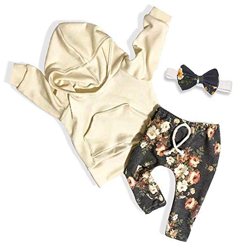 Baby Clothes Long Sleeve Hoodie Sweatshirt Floral Pants with Headband Outfit Sets