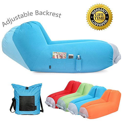 Inflatable air lounger Upgrade Adjustable Backrest Air Bed Sofa Perfect for Indoor Outdoor Hangout Air Chair Couch Hammock Lazy Bag for Beach Park Camping& Music (Bed Backrest)