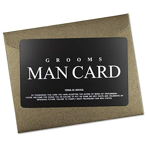 Vanfeis Stainless Steel Funny Junior Groomsmen Proposal Gifts Cards, The Black MAN CARD Wedding Invitations with Gold Envelopes, Rustic Bridal Party Favors Invites Card - Will You Be My Groomsman? Black Tie Wedding Invitations