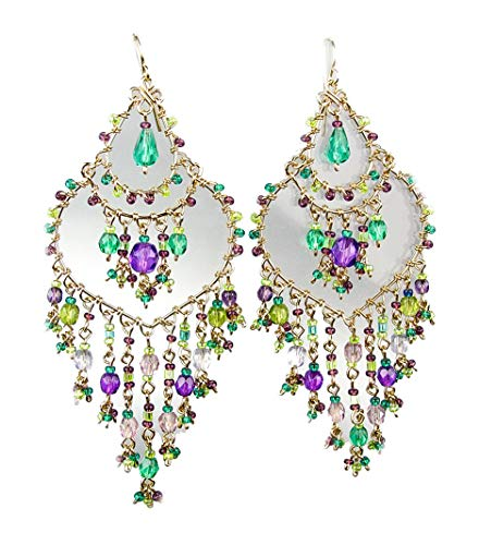 ARTISANAL Exquisite Aquamarine Purple Crystals Gold Chandelier Bohemian Gypsy Earrings