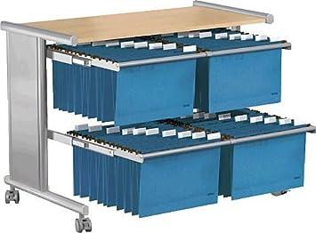 Kerkmann pragma 3532-2 - Carrito para carpetas colgantes con repisa (76 x 40 x 72 cm), color plateado y beige: Amazon.es: Informática