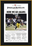 Add this celebration of the Steelers 2008 AFC championship win to your Super Bowl collection. This plaque sports a reproduction of the front page of the Post-Gazette from the day after the AFC win. the page features a photo of Polamalu's inte...