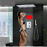 "Rozinsanitary Celling Mounted 16"" Rain Shower Faucet Thermostatic Valve With Hand Shower Set"