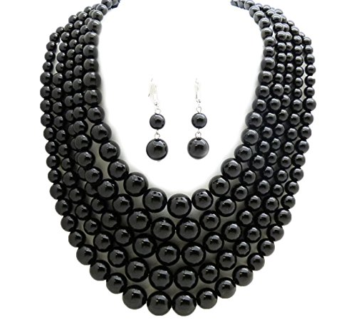 Fashion 21 Women's Five Multi-Strand Simulated Pearl Statement Necklace and Earrings Set (Black)