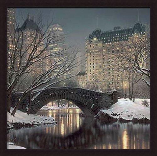 'TWILIGHT IN CENTRAL PARK' New York Building art FRAMED PRINT - Rod Chase (Chase Framed Art)