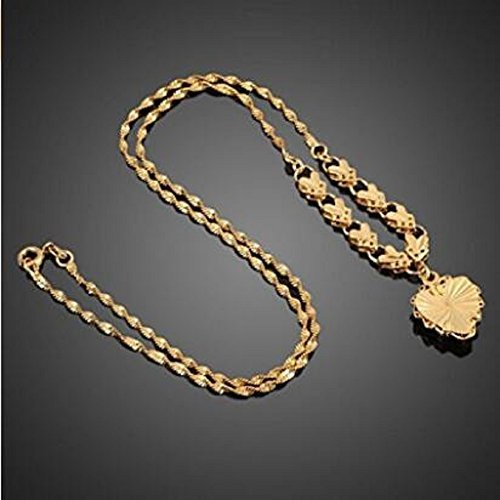 NYKKOLA 18K Rose Gold Filled Filigree Heart Pendant Necklace Chain Fashion Women Jewelry