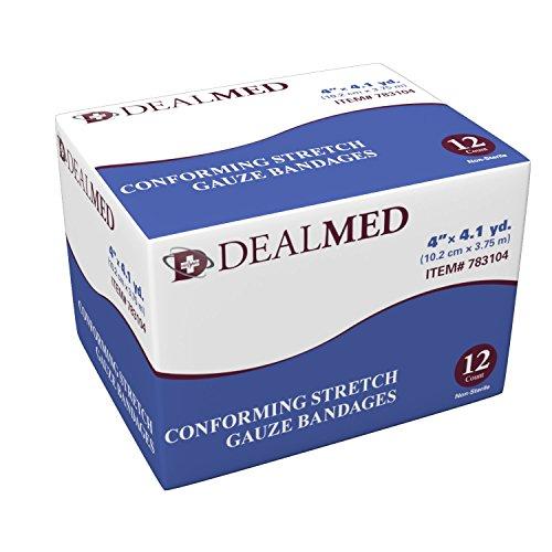 Conforming Stretch Gauze Bandage Rolls, 12 per Box, (4 Inch) (Conforming Bandage Stretch)