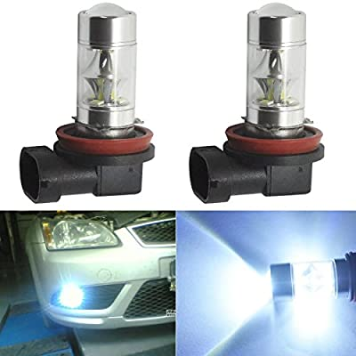 JahyShow Extremely Bright Chipsets 60W for Samsung 2835 H11 H8 LED Bulbs with Projector for DRL or Fog Lights 6000K Xenon White pack of 2