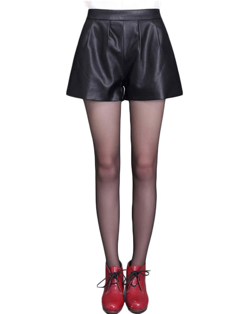 Pantaloncini Allentato da Donna in Pelle Pu Pantaloncini Vita Elastica Taglia Grossa