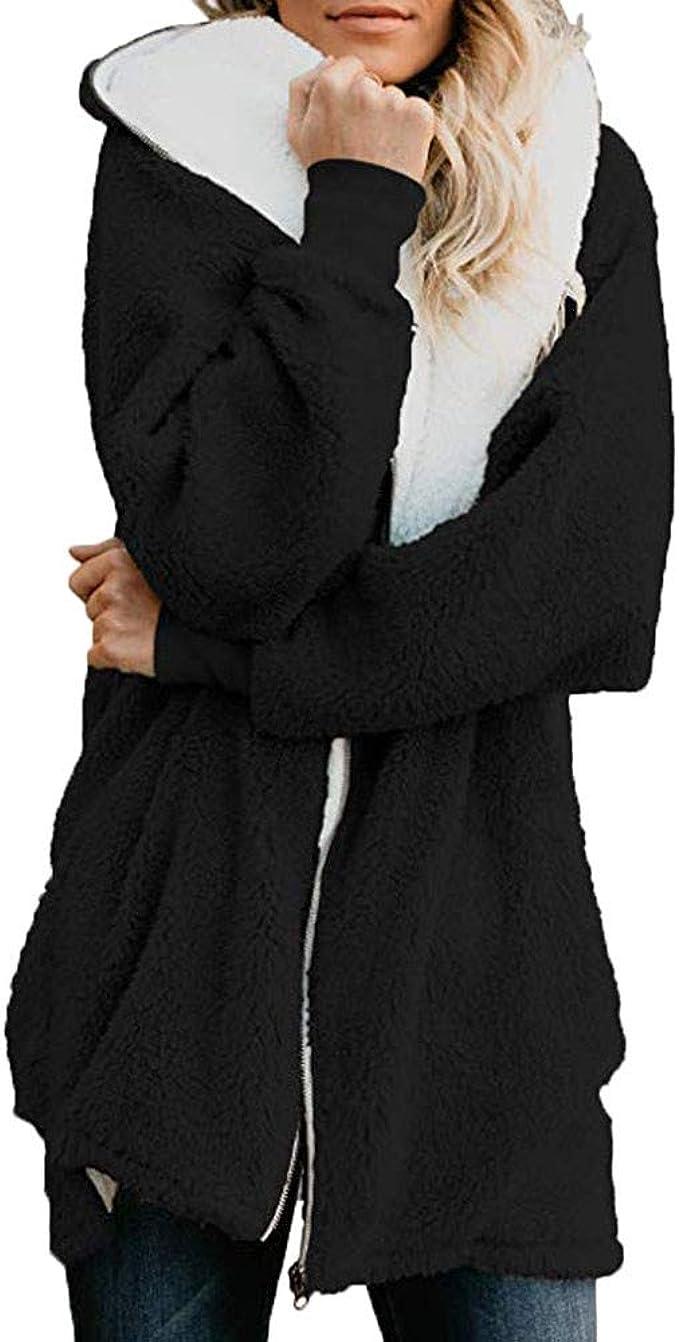 iFOMO Fleece Coat Women with Hoodie Plus Size Oversize Jacket Winter Warm Cozy Plaid 2019 Red 3XL
