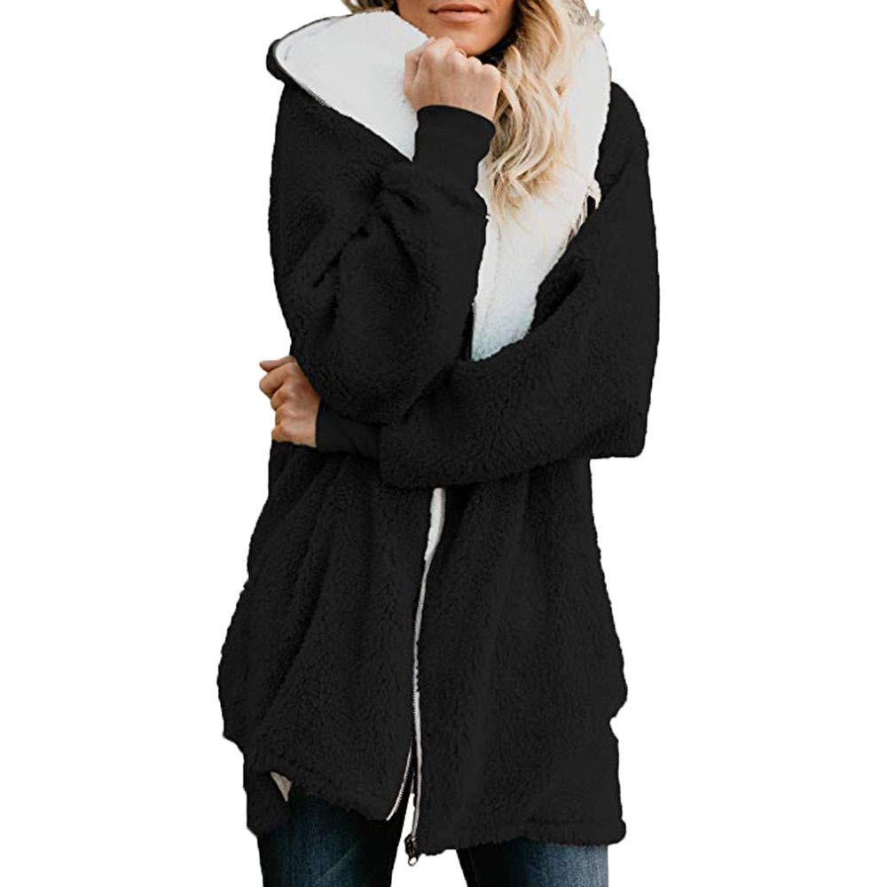 Pandaie Womens Long Sleeve Solid Fuzzy Fleece Jacket Open Front Hooded Cardigans Coats Outwear with Pocket Black by Pandaie