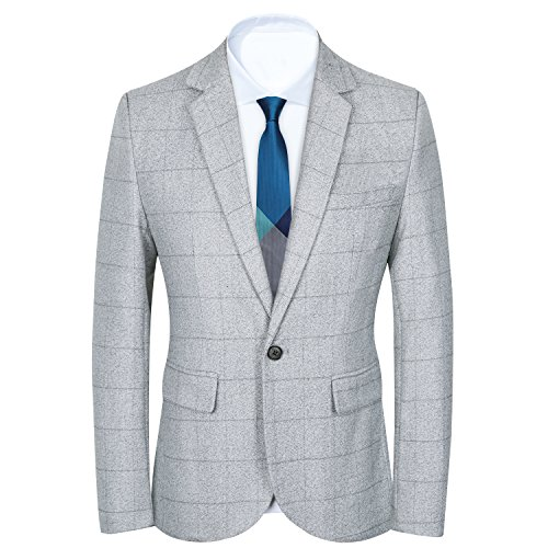 Mens Slim Fit Suits Casual One Button Flap Pockets Solid Blazer Jacket (XXXL, Light Gray)