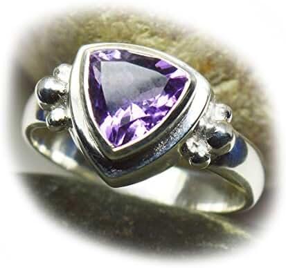 Gemsonclick Genuine Amethyst Trillion Cut 925 Sterling Silver Ring Size 4,5,6,7,8,9,10,11,12