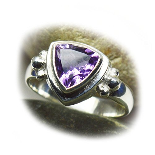 Gemsonclick Genuine Trillion Cut Amethyst Ring For Men Sterling Silver Ring Size 4,5,6,7,8,9,10,11,12