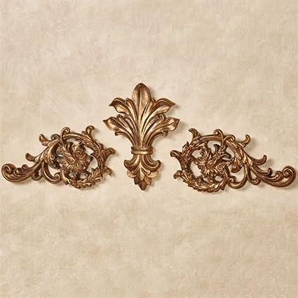Touch Of Class Fleur De Lis U0026 Acanthus Leaves Door Topper Traditional Wall  Decor Antique Gold