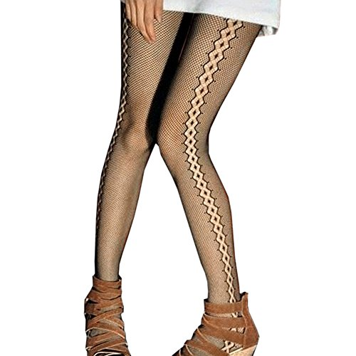 LOCOMO Black Side Curved Stripe Pantyhose Stocking FFT185