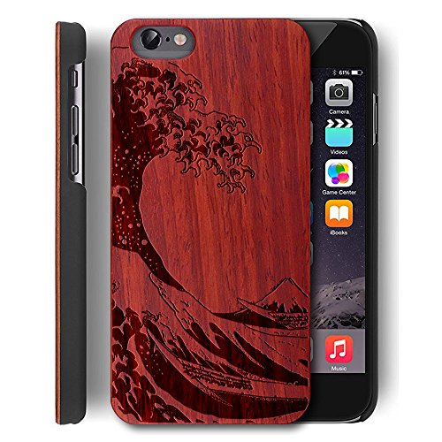 Wood case for iPhone 5/5S/SE Wood Cover, YUANQIAN [Slim Matte] [Shock Absorbing] Flex PC Non Slip Wood Tactile Extra Grip PC Bumper Cover for Apple iPhone 5S [4.0 inch] (Rose Waves) (Iphone 5s Case Elephant Wood)