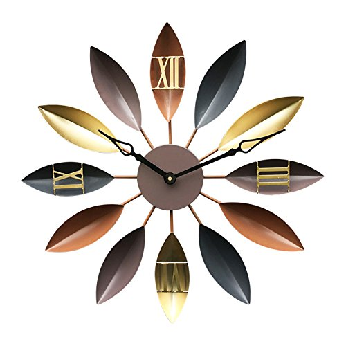 (AO Mute Wall Clock Metal American-Style Village Wrought Iron Leaves Roman Numerals Silent Movement Clock for Bar Living Room, 23 inch)