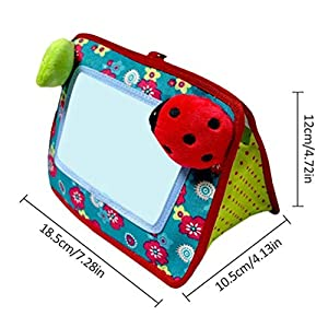 Pandao Baby Mirror Toy, 2-in-1 Crib and Floor Mirror Baby Mirror Toy Tummy Time Infant Development Toys Gift for Soothe…